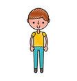 scribble cute boy cartoon vector image vector image