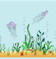 seamless border seabed with seaweed jellyfish vector image