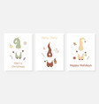 season greetings christmas card set with cute vector image