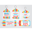 Set of colored tags in stripes vector image vector image