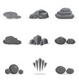 set stone rock and pebble element decor isolated vector image