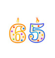 sixty five years anniversary 65 number shaped vector image vector image