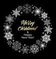 snowflakes with text merry christmas and happy new vector image vector image