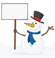 snowman waving and holding a sign vector image vector image