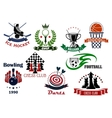 Sport game heraldic icons and symbols vector image vector image