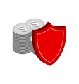 stack of silver coins with shield finance vector image vector image