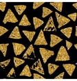 Triangles seamless pattern with golden glitter vector image