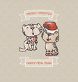 two cute cats and ribbons christmas card vector image vector image