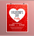 valentines day party celebration red flyer vector image vector image