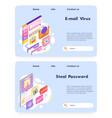 virus attack and malware email cyber security vector image