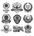 Volleyball emblems set vector image vector image