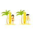 woman and man with surfboard palm trees beach and vector image