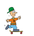 Young Boy on Skateboard vector image