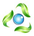leaf around drop symbol vector image