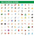 100 church icons set cartoon style vector image