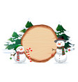 a snowman on wooden banner vector image vector image