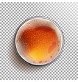 beer glass top view view from above beer vector image vector image