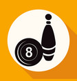 bowling icon on white circle with a long shadow vector image vector image