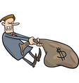 businessman draging sack of dollars vector image vector image