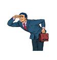 businessman looks ahead vector image