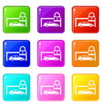 car and padlock icons 9 set vector image vector image