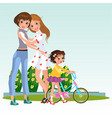 cartoon cheerful women in love with their babygirl vector image