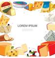 cartoon cheese sorts template vector image vector image