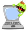Cartoon Laptop attacking by virus vector image vector image