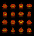 carving face halloween pumpkin silhouette icon set vector image vector image