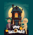 children in monster costumes frankenstein and vector image