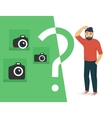 Confused man is choosing a camera vector image vector image