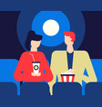couple at the cinema - flat design style colorful vector image vector image