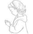 cute cartoon little girl praying coloring page vector image
