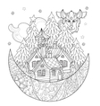 cute christmas fairy tale village doodle vector image
