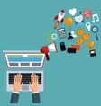 digital marketing hand work laptop vector image vector image