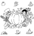 Doodle art thanksgiving pumpkins vector image