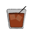 drawing glass cocktail ice drink straw vector image vector image