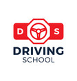 driving school logo car wheel and stop road sign vector image