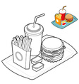 Fast food coloring book Food in linear style Big vector image vector image