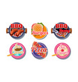 fast food logo set pizza barbecue burger ice vector image vector image