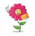 finger pink flower character cartoon vector image vector image