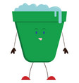 green bucket on white background vector image vector image