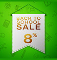 grey pennant back to school sale eight percent vector image