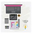grid background with design environment with color vector image vector image