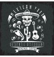 grunge emblem restaurant with skull in mexican vector image