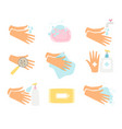 hand hygiene icons set vector image vector image