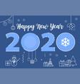 happy new year 2020 line design vector image vector image