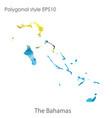 isolated icon bahamas map polygonal geometric vector image vector image