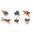 isometric set jockey on horse vector image