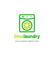 laundry logo design with lime icon vector image vector image